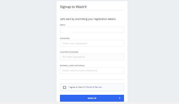 Set Email ID and Password In Wazirx