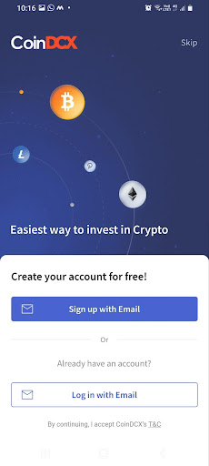 CoinDCX Signup with email